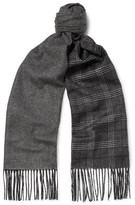 Dunhill Patterned Mulberry Silk And Cashmere-blend Scarf - Dark gray