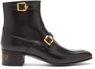 Gucci Sucker-print Buckled Leather Ankle Boots - Black