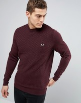 Fred Perry Texture Knit Jumper Checkerboard In Red