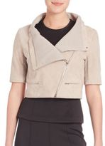 Yigal Azrouel Cropped Short-Sleeve Suede Jacket