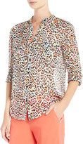 BCBGMAXAZRIA Anderson Leopard-Print Silk Chiffon Top