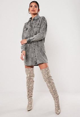 Missguided Double Pocket Oversized Denim Shirt Dress