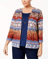Alfred Dunner Plus Size Gypsy Moon Collection Printed Layered-Look Necklace Sweater