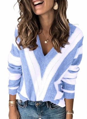 Modasua Winter Knitted Jumpers Women Long Sleeve V Neck Pullover Sweater Tops