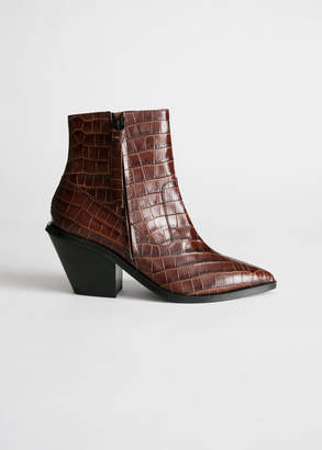 And other stories Croc Leather Cowboy Ankle Boots
