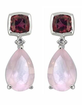 Nitya Sterling Silver Rose Quartz Rhodolite Garnet Earrings