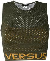 Versus logo print net top - women - Polyester/Spandex/Elastane/Viscose - 42