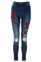 Quiz Blue Rose Embroidered Ripped Skinny Jeans