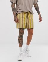 Asos Design DESIGN slim shorter shorts in washed orange stripe