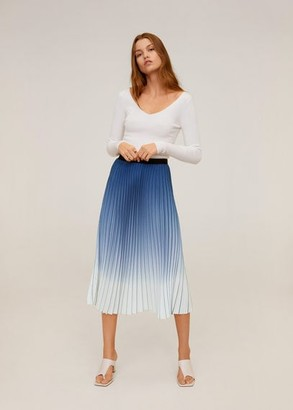 MANGO Pleated midi skirt blue - M - Women