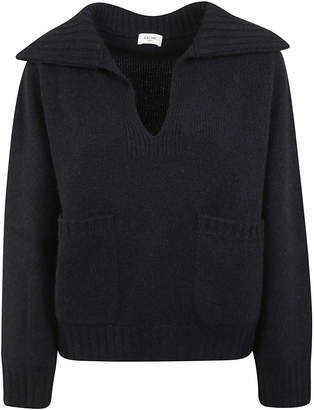 Celine Ribbed Collar Side Pocket Detail Sweater