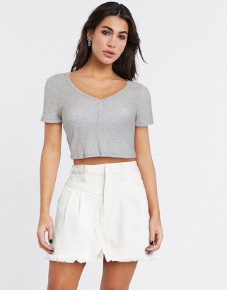 Free People denim mini skirt in white