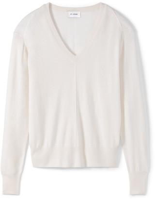 St. John Cashmere Silk Knit V-Neck Sweater