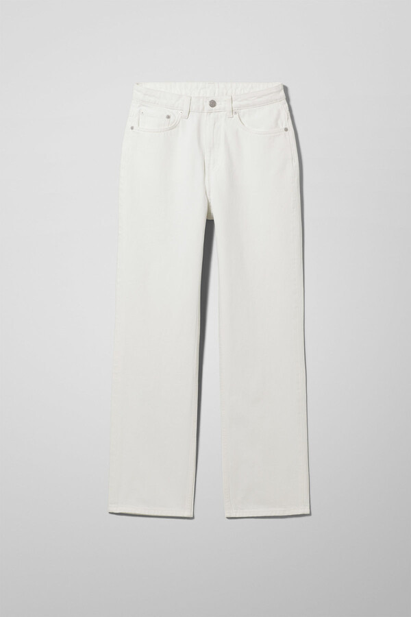 Weekday Voyage High Straight Jeans - White