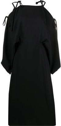 Prada Cold-Shoulder Midi Dress