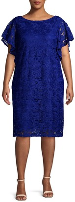 Marina Plus Flutter-Sleeve Lace Dress