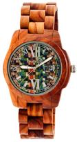 Earth Wood Heartwood Multicolored Skateboard Dial Wood Bracelet Watch, 43mm wide