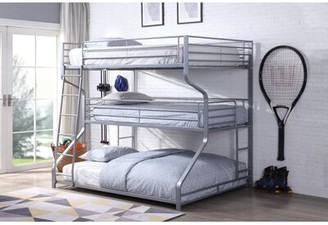 Romano Full over Twin over Queen Triple Bed Zoomie Kids Bed Frame Color: Silver