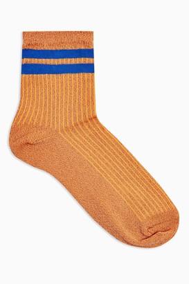 Topshop Womens Rust Glitter Sport Stripe Socks - Rust