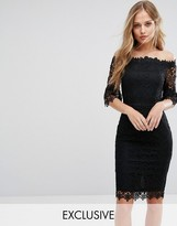 Paper Dolls Lace Pencil Dress With Fluted Sleeve
