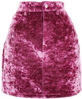 Topshop MOTO Bonded Velvet Mini Skirt