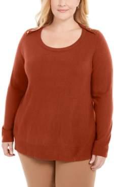 Karen Scott Plus Size Button-Shoulder Sweater, Created for Macy's