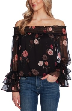 CeCe Printed Off-The-Shoulder Ruffled-Sleeve Top