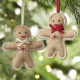 Crate & Barrel Gingerbread Man with Tie Felt Ornaments