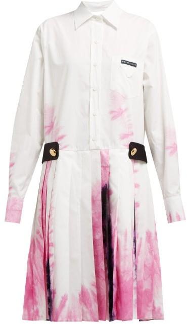 Prada Tie-dye Cotton Shirtdress - Womens - White Multi