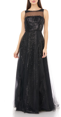 Carmen Marc Valvo Sequin Stripe Sleeveless Illusion Bodice Tulle Gown
