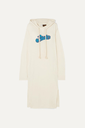 Loewe Paula's Ibiza Logo-appliqued Slub Wool-blend Jersey Maxi Dress - Ivory