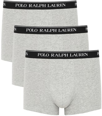 Polo Ralph Lauren Grey Stretch-cotton Boxer Trunks - Set Of Three