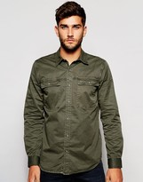 True Religion Workwear Shirt In Faded Olive