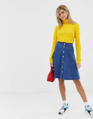 Mads Norgaard buttondown denim skirt in organic cotton-Blue