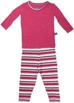 Kickee Pants Print Pajama Set (Baby) - Winter Rose Stripe-Newborn