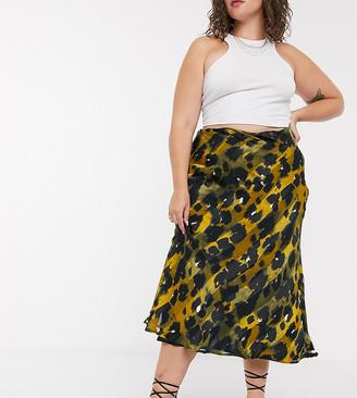 ASOS DESIGN Curve satin bias midi skirt in stripe leopard print