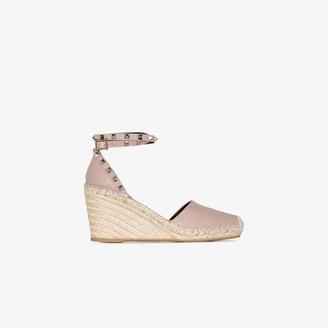 Valentino pink Garavani Rockstud 85 wedge espadrille sandals