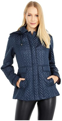 Kate Spade Chevron Quilted Coat (Blush Rose) Women's Coat