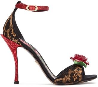 Dolce & Gabbana Rose Applique Sandals