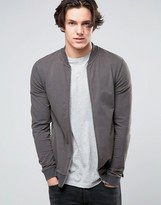 Asos Muscle Distressed Jersey Bomber Jacket