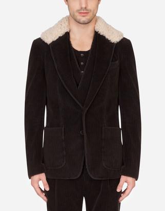 Dolce & Gabbana Single-Breasted Velvet Jacket With Sheepskin Collar