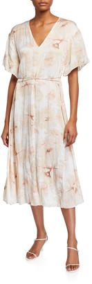 Vince Painted Magnolia V-Neck Midi Dress