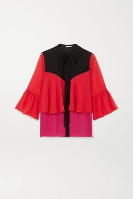 Mary Katrantzou Milana Pussy-bow Color-block Crepe De Chine Blouse - Red