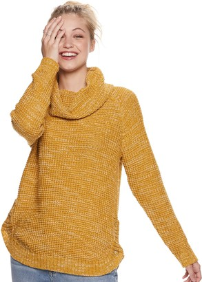 It's Our Time Its Our Time Juniors' Cowl Neck Round Hem Tunic Pullover