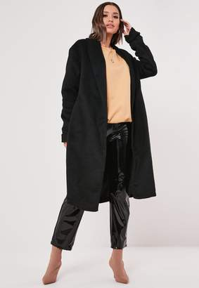 Missguided Black Shawl Collar Side Split Coat