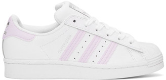 adidas White and Purple Superstar Sneakers