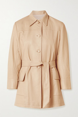 The Mighty Company The Stratford Belted Leather Jacket - Sand