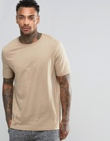 Asos Lightweight T-shirt With Panelling In Beige