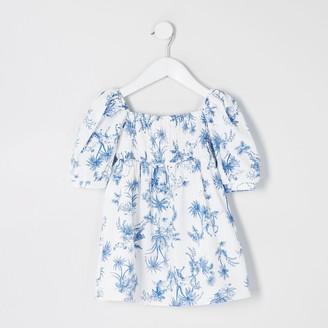 River Island Mini girls White printed puff sleeve dress