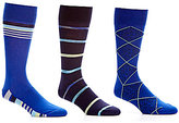 Roundtree & Yorke Gold Label Rugby Stripe Assorted Crew Dress Socks 3-Pack